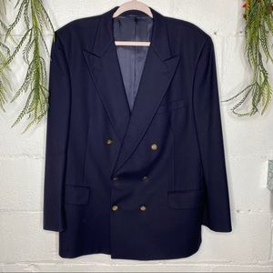 Vintage Burberry Navy Wool Double Breasted Blazer